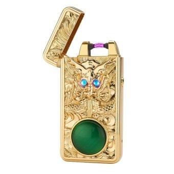 Bật Lửa Dragon Sapphire Mắt Xanh Cao Cấp kèm phụ kiện sạc USB (Vàng)
