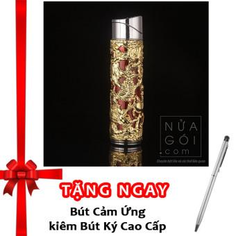Bật lửa khò kiểu Kim Long Trụ có đèn báo F547 (vàng) + Tặng bút ký kiêm bút cảm ứng cho smartphone và tablet
