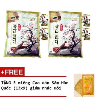 Bộ 2 gói Kẹo Sâm vitamin Hàn Quốc không đường + Tặng 5 miếng cao dán Sâm Hàn Quốc giảm nhức mỏi