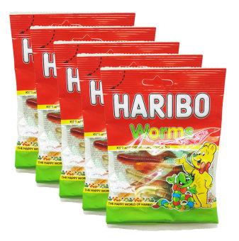 Bộ 5 gói kẹo dẻo Haribo Worm 80g