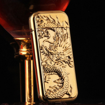 Bật lửa bắn tia điện chạm khắc rồng nổi sang trọng (gold)