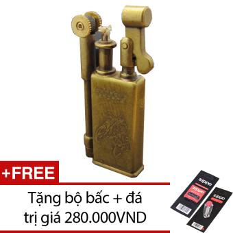 Bật lửa Xăng Đá Kiểu Cổ JiFeng 005B + Tặng bộ bấc và đá