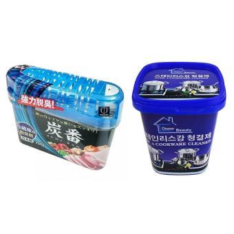 Combo Hộp Khử mùi diệt khuẩn tủ lanh bằng than hoạt tính + Hộp kem Siêu tẩy vết bẩn nhà bếp, nhà tắm - Hàn Quốc