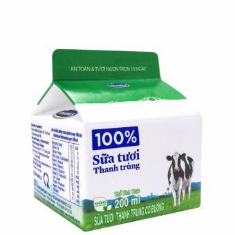 Thùng 24 Hộp Sữa tươi thanh trùng Vinamilk 100% có đường 200ml
