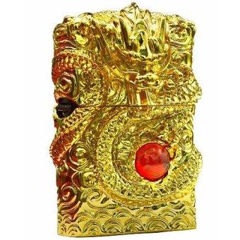 Bật lửa sạc điện rồng vàng ánh kim đính đá