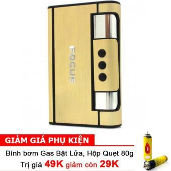 Hộp đựng thuốc lá kiêm bật lửa khò WINDRUNNER F645 (Vàng) + Bình bơm gas Bật lửa 80g