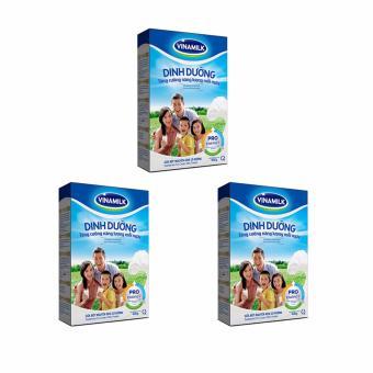 Bộ 3 Hộp Sữa bột Nguyên kem có đường Vinamilk Dinh Dưỡng 400g (Hộp Giấy)