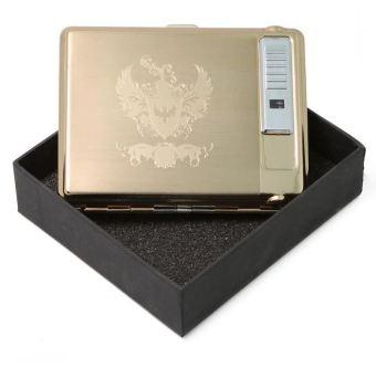 Bật lửa ga kèm hộp đựng thuốc PKH-01 (Vàng)