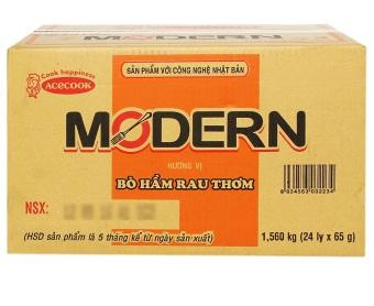 Thùng 24 ly mì Modern vị bò hầm rau thơm