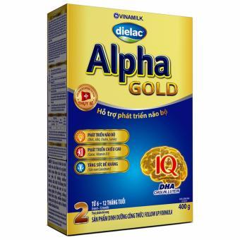 Bộ 2 Hộp Sữa bột Vinamilk Dielac Alpha Gold Step 2 400g (Hộp giấy)