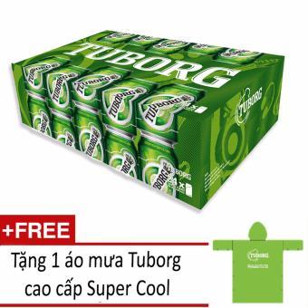 Thùng 24 Lon Bia Tuborg 330ml + Tặng 1 áo mưa Tuborg Super Cool