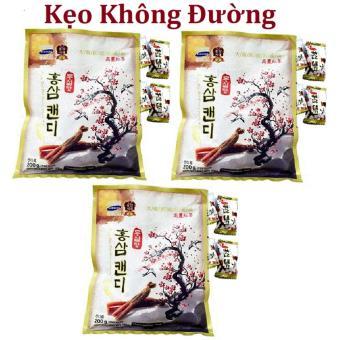 Bộ 3 gói Kẹo Sâm vitamin cành đào Hàn Quốc không đường 200g/gói