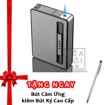 Hộp đựng thuốc lá kiêm bật lửa khò mẫu traveler F644 (nước sơn nhám) + Tặng bút cảm ứng kiêm bút ký cho smartphone và tablet (bạc)