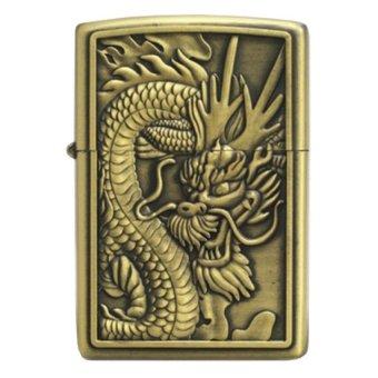 Bật lửa xăng chạm hình Đầu rồng (vàng đồng)