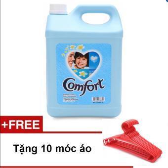 Nước xả vải Comfort can 5000ml (Xanh) + GIFT 10 móc áo