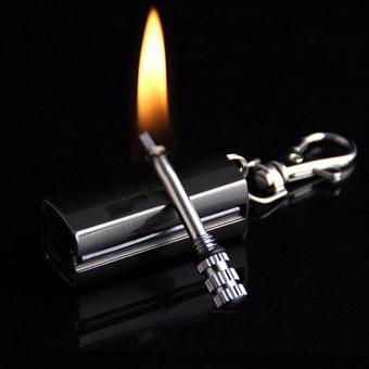 Bật lửa móc khóa mini xăng kiểu quẹt diêm HY613 vỏ hợp kim (Ghi đen)