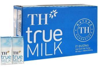 Thùng Sữa Tươi Tiệt Trùng Th True Milk Ít Đường 180ml (180ml X 48 Hộp)