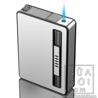 Hộp đựng thuốc lá kiêm bật lửa khò mẫu traveler F644 (trắng bạc)