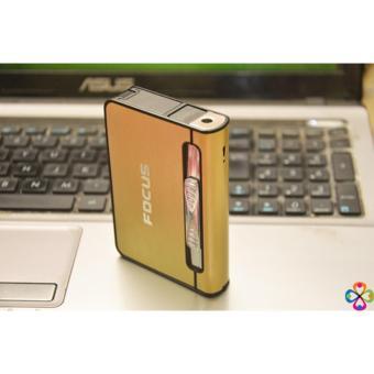 Hộp đựng thuốc lá có bật lửa đa năng FOCUS ( vàng )