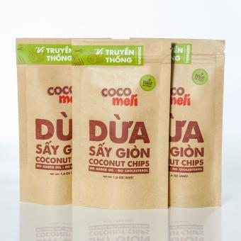 Bộ 3 bịch dừa sấy giòn Cocomeli 45gr