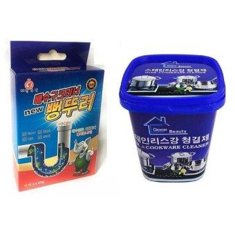 Bộ Bột thông tắc ống nước, bồn cầu Hàn Quốc và Kem đa năng tẩy xoong nồi và đồ gia dụng Hàn Quốc