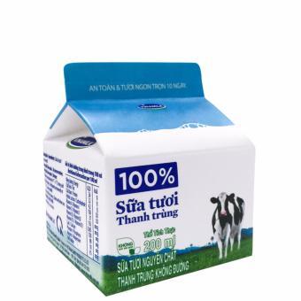 Thùng 24 Hộp Sữa tươi thanh trùng Vinamilk 100% Không đường 200ml