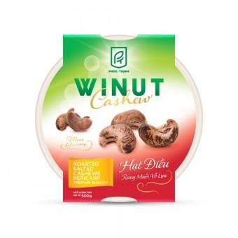 Hạt điều rang muối vỏ lụa Winut 500gr (Hộp nhựa)