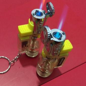 Bật lửa khò 3 tia lửa có nắp bật (Bạc kim loại) - Hàng nhập khẩu