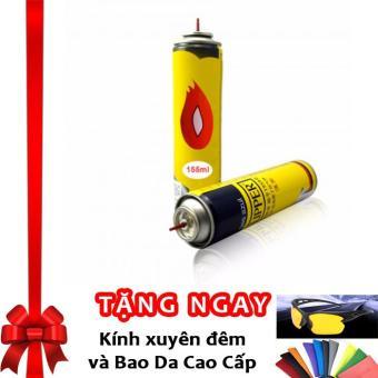Bình bơm gas Bật Lửa Hộp Quẹt LPG 80g + Tặng kính xuyên đêm và bao da cao cấp
