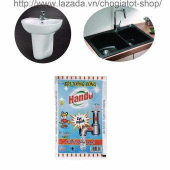 Bột thông tắc cống,đường ống nước thải,Lavabo,bồn rửa bát Hando 100Gr (Màu Xanh)