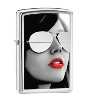 Bật Lửa Zippo Cô Gái Đeo Kính Sunglasses (Xám)