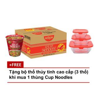 Thùng 24 Ly Mì Cup Noodles - Hương Vị Thái Tom Yum (60gr) tặng 1 bộ thố thủy tinh cao cấp (3 cái)