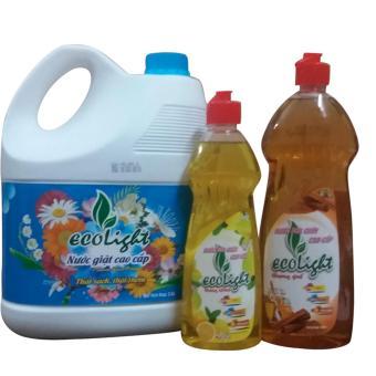 Bộ combo nước giặt hương comfort, nước rửa chén tinh dầu quế cao cấp Ecolight
