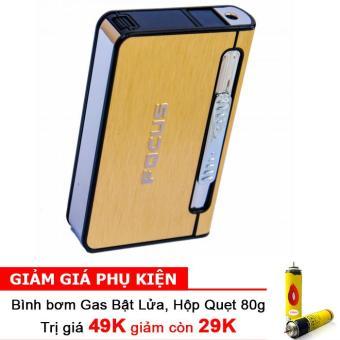 Hộp đựng thuốc lá kiêm bật lửa khò F641 (Vàng) + Bình bơm gas Bật lửa 80g