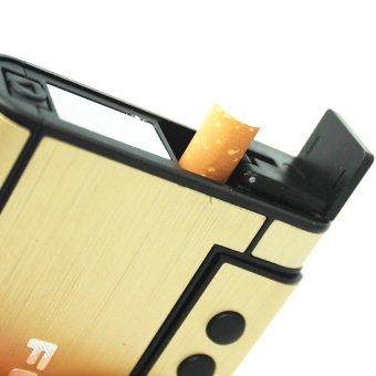 Hộp đựng thuốc lá kiêm bật lửa khò F641 (Vàng) + Tặng diêm chịu nước quẹt bằng xăng độc đáo classic