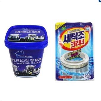 Combo Kem vệ sinh nhà bếp đa năng & Bột vệ sinh lồng máy giặt Hàn Quốc