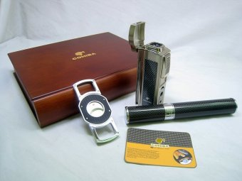 Bộ bật lửa Cohiba 4 tia, dao cắt, ống đựng và hộp đựng Ciga T100