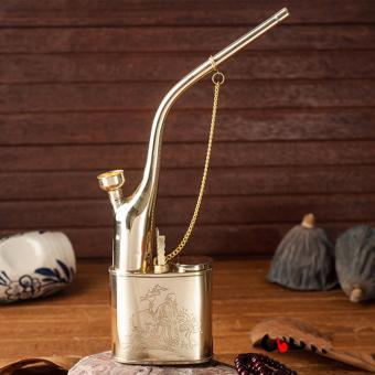 Tẩu lọc và hút thuốc lá, thuốc lào đa năng hợp kim nhôm mạ vàng cao cấp (Vàng)
