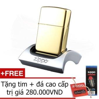 Bật Lửa Zippo Brass Vintage Chính Hãng - Bản Giới Hạn MOBV0075 (Vàng) + Tặng tim và đá cao cấp.