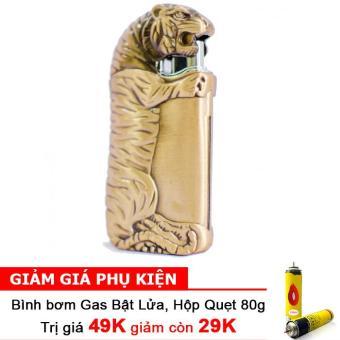 Bật Lửa Khò Mãnh Hổ Ôm Bình Rượu F554 (Đồng) + Bình bơm gas Bật lửa 80g