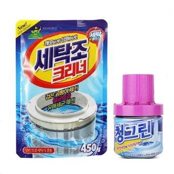 Bộ bột tẩy vệ sinh lồng máy giặt và lọ làm sạch thơm bồn cầu