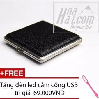 Mua Hôp đựng thuốc lá da bộc kim loại HOAHAI.COM (Đen) + Tặng đèn led cắm cổng USB giá tốt nhất