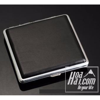 Hôp đựng thuốc lá da bộc kim loại HOAHAI.COM (Đen) + Tặng đèn led cắm cổng USB