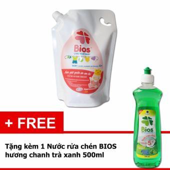 Nước giặt quần áo em bé BIOS hương Powder Incense 1 Lít (tặng Nước Rửa Chén BIOS Đậm Đặc hương Chanh trà xanh 500ml)