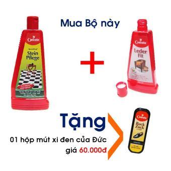 Bộ Nước lau sàn đá 500ml và Sữa làm sạch, dưỡng mềm da thật 250ml, tặng kèm 01 hộp mút đánh giày xi đen tiện dụng, 100% hàng Đức