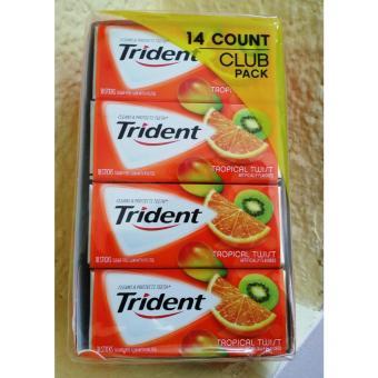 Hộp 14 phong Kẹo cao su không đường Trident vị Cam Kiwi