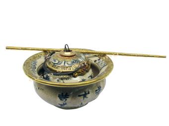 Bát Điếu bọc đồng men rạn cổ Bát Tràng