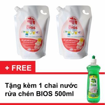 Bộ 2 Túi Nước giặt quần áo em bé BIOS hương Powder Incense 1 Lít + Tặng 1 chai Nước Rửa Chén 500ml