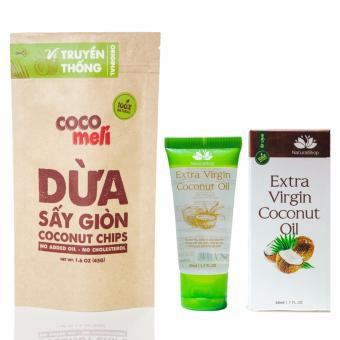 Dầu dừa tinh khiết Natural Shop 50ml và dừa sấy giòn Cocomeli 45gram