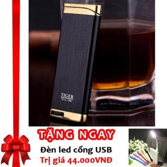Bật Lửa Khò Tiger Tia Lửa Xanh Torch Lighter F84 (Đen) + Tặng đèn LED cổng USB